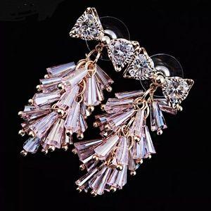 bow beads cz Chandelier drop dangling earrings